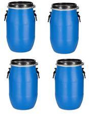 4 x 30 L Deckelfass Kunststofftonne Plastikfass Behälter blau mit Tragegriffen.