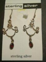 Sterling Silver Red Gem stone Dangling Earrings New