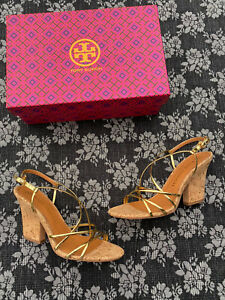 Tory Burch Penelope Strappy Sandal size 9 M Gold/natural Cork Heel