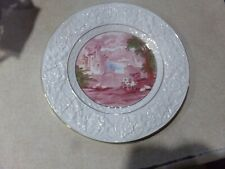Maling Newcastle On Tyne England Red Ivory & Gold Pastoral Scene Plate Cows 1949
