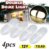 4X 12V RV LED Double Ceiling Interior Dome Light Fixture Camper Trailer Marine