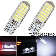 2x T10 194 168 W5W 12-SMD 4014 LED Silica Bright White License Light Bulb 6000K