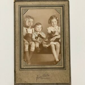 Vintage Trifold Photo Children Boy Baby Toy Girl Cat Tinted Manchester NH