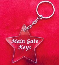 Personalised customised Acrylic Keyring Free Engraving Star Shape Metal Ring