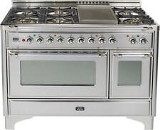 """Ilve UM120FDMPIX Majestic Series 48"""" Dual Fuel Gas Range Double Oven W/ Griddle"""