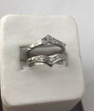 Vintage 14 K Solid Gold Diamonds Insert Guard Engagement Ring size 6