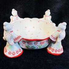 Temptations Angel Christmas Serving Bowl 1.5 Qt Ceramic Holly Berries by Tara