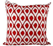 One Duck Two Ikat Red cotton cushion cover