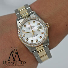 Rolex 16233 Datejust 2 Tone 36mm Diamond Bezel & Mother Of Pearl Diamond Dial