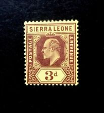 Sierra Leone KEVII SG 104a Ordinary Paper 3d Purple/ Yellow Unmounted Mint.
