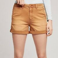 Anthropologie By Chino Womens Relax Khaki Shorts Cuffed Size 27 Casual Beige