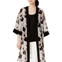 ALFANI NEW Women's Black Printed Sheer Kimono Shirt Top S/M TEDO