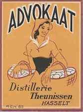 """ADVOKAAT (Distillerie THEUNISSEN)"" Etiquette-chromo originale début 1900"