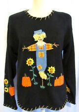 MANDAL BAY WOMEN'S BLACK LONG SLEEVE THANKSGIVING PULLOVER SWEATER, SIZE S/P