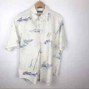 NÁUTICA Button Down Mens Boat Sea Printed Shirt Short sleeve  Size M