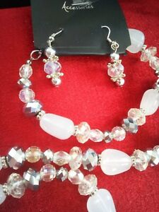 Accessories Necklace And Earrings Jewelry Set Milky bead/SilverTone long