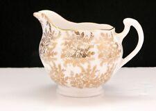 Vintage Royal Vale Gold Chintz Milk Jug Bone China 50s 60s Christmas Floral