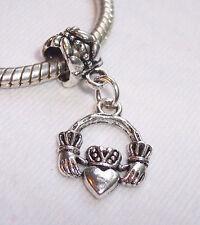 Antique Silver Irish Celtic Claddagh Heart Charm Bead European Charm Bracelets