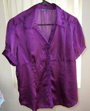 Career Blouse Women's XL to XXL Purple Vertical Stripe Easy Care Poly