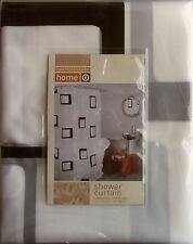 HOME PEVA  BATH SHOWER CURTAIN CONTEMPORARY BLOCKS 70 x 72 NEW BLACK WHITE 