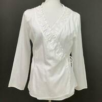 J.Jill Womens White Cotton Ruffle Wrap Top Size Medium Petite Long Sleeves NWT