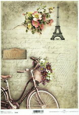 A/4 Rice Paper for Decoupage Scrapbooking Sheet Parisian Still Life Bike