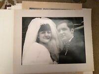 F1m  8x6 inch on card  bw photograph wedding  bride groom Close up 1960s g