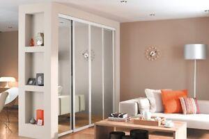 Sliding Wardrobe Doorset. Silver Frame Mirror x 4 & Storage. Up to 2387mm wide