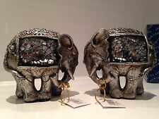 Shudehill Silver Crackle Mosaic Mirror Elephants Pair Ornament Gift Figurines