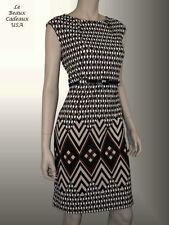 I LE NEW YORK Women Dress Size 14 BROWN BLACK WHITE Sleeveless Belt Knee NWT