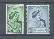 More details for malta 1948 silver wedding sg.249-50 mh