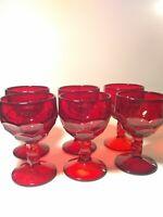 6 RARE VINTAGE VIKING GLASS GEORGIAN RUBY RED LIQUOR COCKTAIL GOBLETS HONEYCOMB
