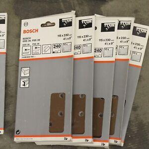 50 Bosch 115mm x 230mm 240G Quick Fit Sanding Sheets 1/2 Sanders. 2608604150