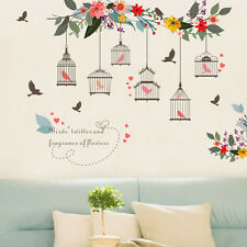 DIY Tree Bird Cage Colorful Birds Wall Sticker Quote Decal Vinyl Art Home Decor