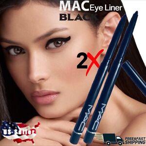 2X BLACK Eye Liner MAC Retractable Waterproof Eyeliner Pencil Pen Lot of 2