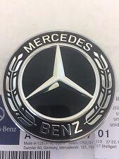 Genuine FIT FOR Mercedes Star Flat Hood Bonnet Logo Emblem Badge High Gloss