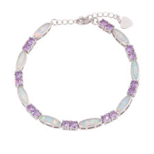 White Fire Opal Amethyst Silver Fashion for Womens Jewelry Chain Bracelet OS675