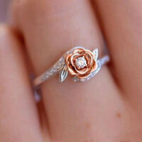 Exquisite Two Tone Women 925 Silver Floral Ring Wedding Flower Jewelry Size 5-11