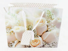 Large Gift Bag Wedding Anniversary Cream Rose Glitter Luxury Present Wrapping