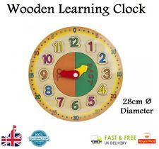 Kids WOODEN LEARNING CLOCK Educational Early Learning Toy Boys Girls Gift UK