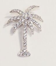 925 STERLING SILVER 1 CARAT TW RUSSIAN CZ PAVE PALM TREE SLIDE PENDANT