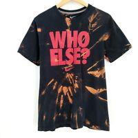 NIKE Who Else? Custom Bleach Tie Dye Retro Crew Graphic T-Shirt Black Size M
