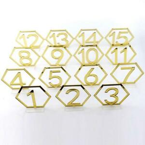 1-15 Hexagon Table Seat Signs Numbers Gold Acrylic Mirror for Engagement Wedding