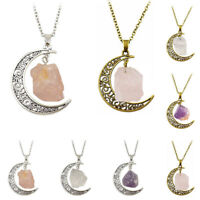 EE_ Crystal Crescent Silver Chain Moon/Sun Pendant Natural Stone Opal Necklace