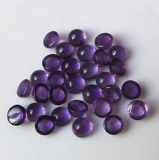 30 Pieces 5X5 MM Round Cut Natural African Purple Amethyst Cabochon Gemstone Lot