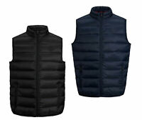 Jack & Jones Mens Full Zip Padded Quilted Gilet Bodywarmer Sleeveless Black Navy