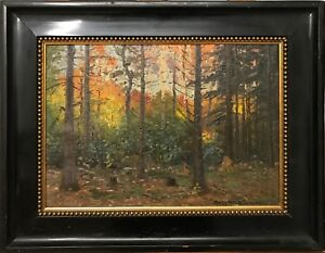 Kaj Drews (1884-1964): SUNSET IN AUTUMN FOREST