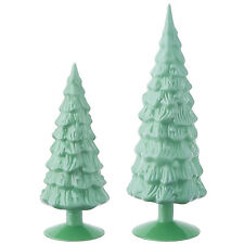 "Set/2 15.25"" RAZ Green Milk Glass Christmas Tree Figurines Retro Vtg Style Decor"