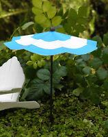 Miniature FAIRY GARDEN Accessories ~ Blue & White Striped Beach Umbrella ~ NEW