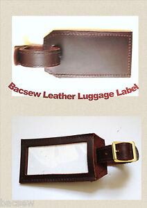 QUALITY LEATHER LUGGAGE / ID TAG LABEL /  BUCKLE FASTENING